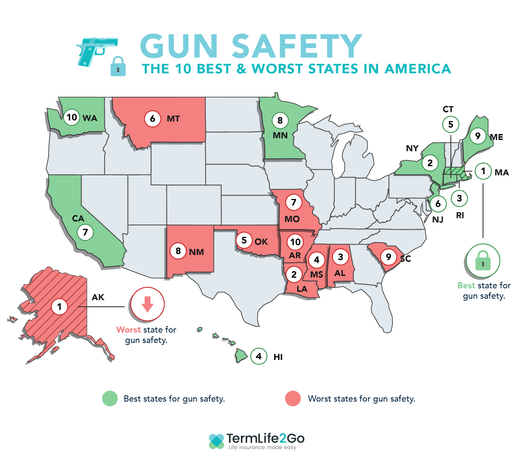 Gun Safety the 10 best and worst states in america map