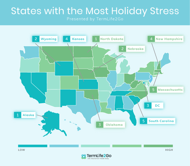 States with the most stress during the holidays